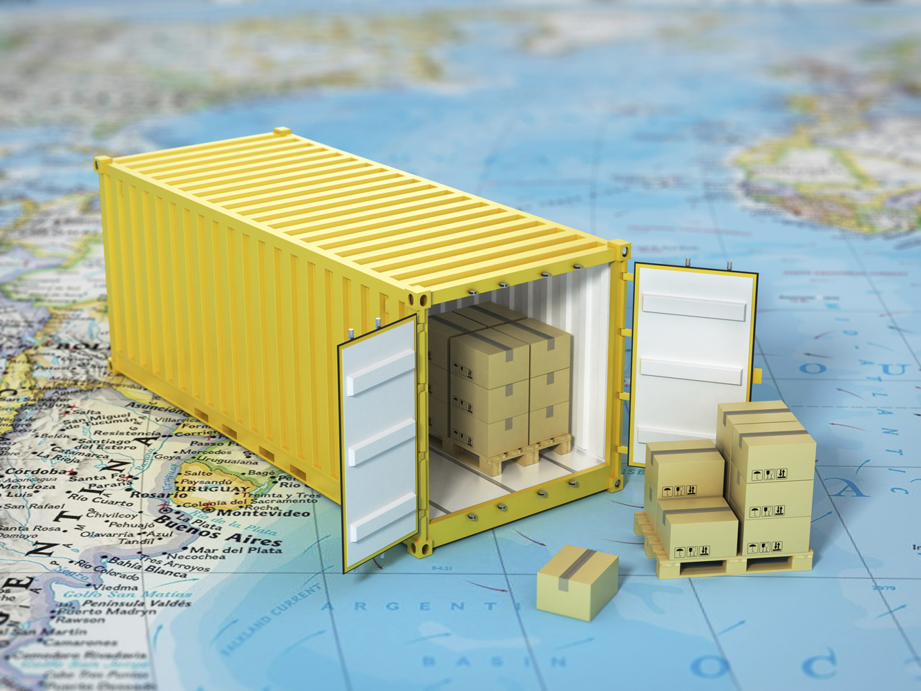 Conceptual photo of a shipping container on a map
